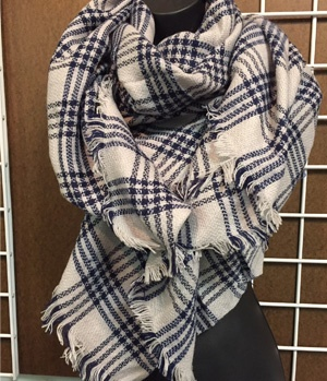 plaid scarf on display